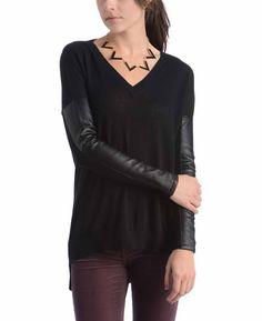 BCBG V-Neck Sweater with Vegan Leather Sleeves