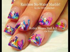 Neon Rainbow Marble Nails! - No Water needed Nail Art Tutorial - YouTube