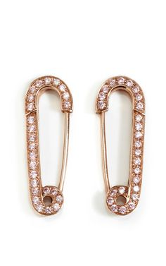 Rose Gold & Pink Safety Pin Earrings by Genevieve Jones
