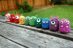 Sweet little amigurumi monsters.  Is it just me, or would these be adorable cat toys?