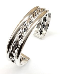 Sterling Silver Native American Navajo Braided Center Cuff Bracelet C091601 Tahe