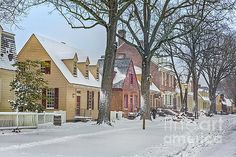 Colonial Williamsburg Shops in Winter by Karen Jorstad Williamsburg Virginia, Colonial Williamsburg, Gloucester Street, Colonial America, Capitol Building, Pretty Photos, Virginia Beach, Beautiful Places, Vacation