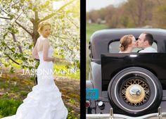 Spring Cherry Blossom & Navy Uniform Wedding Sneak Peek with an old classic Ford car.    Photos by Jason Mann Photography ~ 920.246.8106 ~ http://www.jmannphoto.com