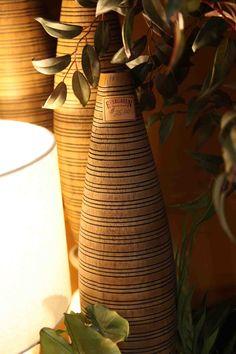 brown vase with black striations  www.EvergreenMfg.net