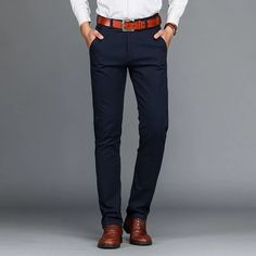 Mens Cotton Business Straight Pants Casual Solid Elastic Pants is warm, see other men pants on NewChic. Men Trousers, Mens Dress Pants, Men Shorts, Men Pants, Pants Outfit, Casual Pants, Khaki Pants, Men Casual, Cargo Pants