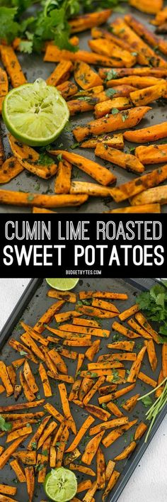Bright lime juice and earthy cumin pair perfectly with the subtle creamy sweetness of sweet potatoes in these Cumin Lime Roasted Sweet Potatoes.