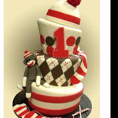 Sock monkey birthday cake.