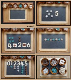 """Reggio Math ideas with buttons: number recognition, counting, simple addition & pattern work (via Stimulating Learning with Rachel ("""",) Numeracy Activities, Literacy And Numeracy, Montessori Activities, Kindergarten Activities, Math Centers, Kindergarten Classroom, Diversity Activities, Numbers Kindergarten, Math Numbers"""