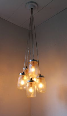 FOG - Mason Jar Chandelier with Frosted Ball Mason Jars -Upcycled Lighting Fixture ready for Direct Hardwire - Modern Lamp by BootsNGus