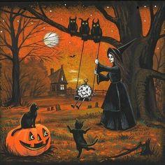 Vintage Halloween Images, Whimsical Halloween, Halloween Artwork, Halloween Magic, Halloween Painting, Halloween Haunted Houses, Halloween Cat, Happy Halloween Pictures, Steampunk Halloween