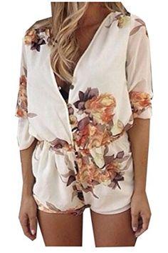 987963d2788 LoveSky Women s Long Sleeve Deep V Neck Floral Printed Romper Jumpsuit  Floral Jumpsuit
