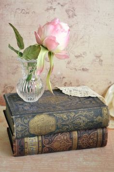 Pretty in pink and shabby chic. Old Books, Antique Books, Vintage Books, Antique Lace, Deco Rose, Book Flowers, Shabby Flowers, Vibeke Design, Living Vintage