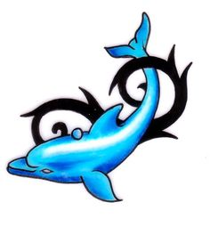 Cute blue dolphin with black tribal element.