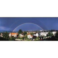 Monkstown Co Dublin Ireland Rainbow Over Housing Canvas Art - The Irish Image Collection Design Pics (44 x 18)