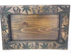marijuana leaf with skull 13.5 x 9  decorative rolling  tray