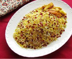 Turmeric & Saffron: Zereshk Polow - Rice with Barberries  2 cups basmati rice 1/2 cup barberries (zereshk) 1teaspoon crushed saffron, dissolved in 3-4 tablespoons of hot water 1- 2 tablespoons sugar Butter or vegetable oil Salt Water