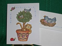 NOTECARDSCountry Cats in Fabric Applique by acraftingheart on Etsy
