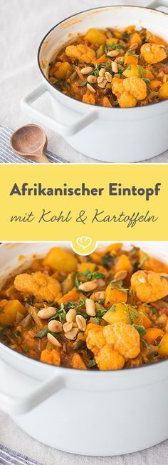 East African vegetable stew with cabbage and potatoes-Ost-afrikanischer Gemüseeintopf mit Kohl und Kartoffeln If you feel wanderlust again, this delicious stew with exotic spices, potatoes and cabbage will make you dream of distant countries. Vegetable Stew, Vegetable Drinks, Cabbage Vegetable, Vegetable Salad, Vegetable Dishes, Cabbage And Potatoes, Butter Potatoes, Vegetarian Recipes, Healthy Recipes