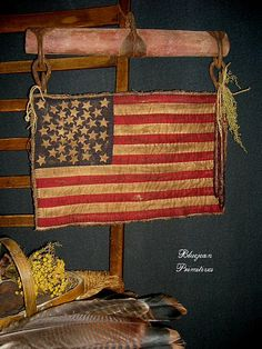 Quilted American Flag on Single Tree Sold by bluejeanprimitives, via Flickr