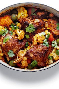 This is a dish steeped in the flavors of North Africa, but also of France Chicken serves as the protein, bathed in a blend of North African spices — cinnamon and coriander, turmeric, ginger powder and cardamom — combined with tomatoes, saffron and a little stock. (Photo: Christina Holmes for The New York Times)