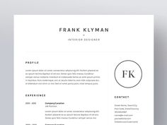 Frank Klyman - Resume/CV Template by WornOutMedia Co. on @creativemarket