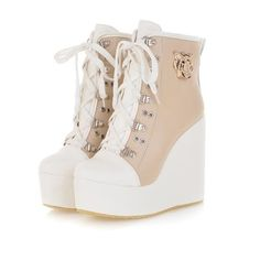 Beige Sneaker Wedge Source by storenvy fashion boots Fancy Shoes, Pretty Shoes, Beautiful Shoes, Me Too Shoes, Sneaker High Heels, Wedge Sneaker, Wedge Ankle Boots, High Heel Boots, Heeled Boots
