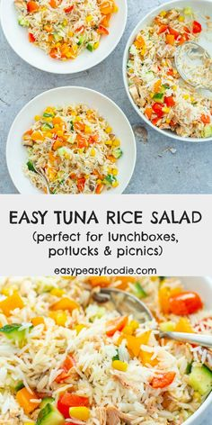 This Easy Tuna Rice Salad is so simple to make, but tastes great. Perfect for a light lunch, as part of a picnic or at a potluck/buffet. Alternatively, serve with a green side salad and some crusty bread for a more substantial meal. Lunch Box Recipes, Potluck Recipes, Entree Recipes, Fish Recipes, Salad Recipes, Cooking Recipes, Healthy Recipes, Picnic Recipes, Picnic Ideas