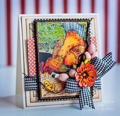 Gorgeously colored farm image from #Crafty Secrets using image from Farm Chicks Digital Stamp Set with #Spectrum Noir markers by Michele Kovack - Thoughts of a Cardmaker