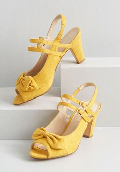 These yellow slingback heels by Chelsea Crew will add a song to your heart and a skip to your step! Flaunting leather lining, faux suede uppers, and double. Bow Shoes, Cute Shoes, Me Too Shoes, Shoes Heels, High Heels, Awesome Shoes, Ankle Strap Heels, Peep Toe Heels, Ankle Straps