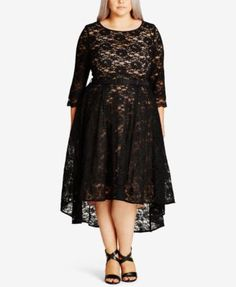 City Chic Trendy Plus Size Lace Midi Dress $149.00 Amounting to the incredible, City Chic's plus size midi dress flares to perfection with a tulle underlay and a high-low hem.