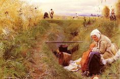 Anders Zorn: 'Our Daily Bread' depicts the artist's  mother sitting at the edge of a ditch, cooking  potatos for the harvesters  link