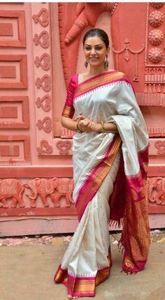 Red and white sari, simple elbow length blouse, pulled back hair, chandelier earrings.Love the whole look Saris, Silk Sarees, Kanjivaram Sarees, Kurti, Kanchipuram Saree, Cotton Saree, Mehndi, Henna, Indian Attire