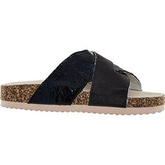 28343f310b7 Black Chunky Cross Strap Sandals Shoes With Jeans