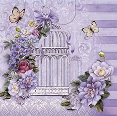 flower cage and butterflies Decoupage Vintage, Vintage Paper, Vintage Art, Vintage Pictures, Vintage Images, Scrapbook Paper, Scrapbooking, Diy And Crafts, Paper Crafts