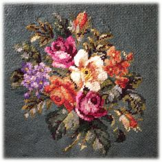 Large Green Floral Roses Needlepoint Upholstery by radishka, $35.00