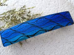 Large Barrette Blue Barrette Hair Barrette French by ccvalenzo