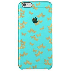 Gold butterflies on aqua backround