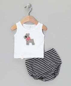 Take a look at the White Scottie Dog Tank & Black Stripe Diaper Cover - Infant on #zulily today!
