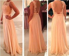 Custom Made Long A line Lace Prom Dresses Lace by FreePeoples, $169.99