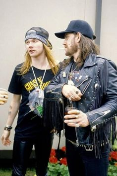 """""""Axl Rose (Guns N' Roses) and Lemmy Kilmister (Motörhead) backstage at The Donington Monsters of Rock Festival in August 1988."""""""