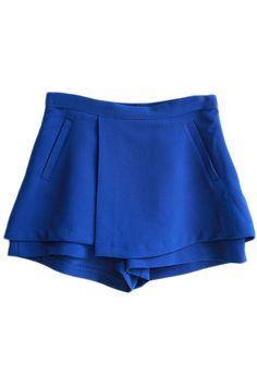 ROMWE   Zippered Faux Pockets Blue Shorts, The Latest Street Fashion