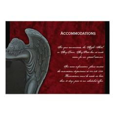 Gothic Angel on Red Velvet Wedding Accomodations Card