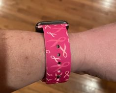 Breast Cancer Ribbon Apple Watch Band - S/M
