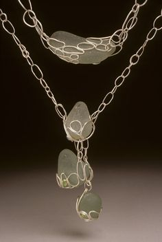 Necklace | Tzu-Ju Chen.  'Shore'.    Sterling silver, 14k yellow gold and found glass