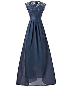 Womens Lace Chiffon Long Maxi Party Dresses GABREBI Sleeveless Vneck Dress XL Navyblue ** You can get additional details at the image link. (This is an affiliate link) Party Dresses, Formal Dresses, Lace Chiffon, V Neck Dress, Vintage Dresses, Image Link, Fashion Dresses, Bridesmaid, Prom