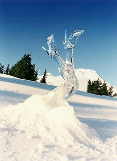 Fell head first into snow! .Ice sculpture
