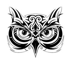 tribal owl: Vector illustration with owl head tattoo sketch