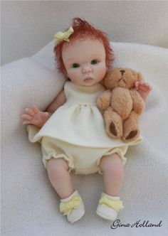 OOAK Hand Sculpted Baby Girl Art Doll Mini By Gina Holland