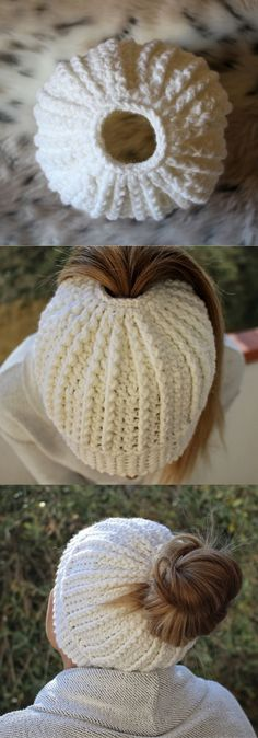 Messy Bun Pattern super easy using double crochet. Beautiful texture with the thick yarn! Step-by-Step pattern. Click to view or buy the hat! #HatsCrochetPatterns