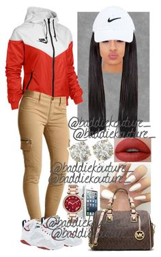 A fashion look from September 2015 featuring NIKE activewear jackets, Victoria's Secret leggings and MICHAEL Michael Kors handbags. Browse and shop related loo… Lit Outfits, Jordan Outfits, Cute Swag Outfits, Dope Outfits, Trendy Outfits, Winter Outfits, Summer Outfits, School Outfits, Look Fashion